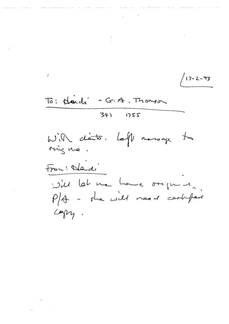Heidi GA Thomson - original Power of Attorney