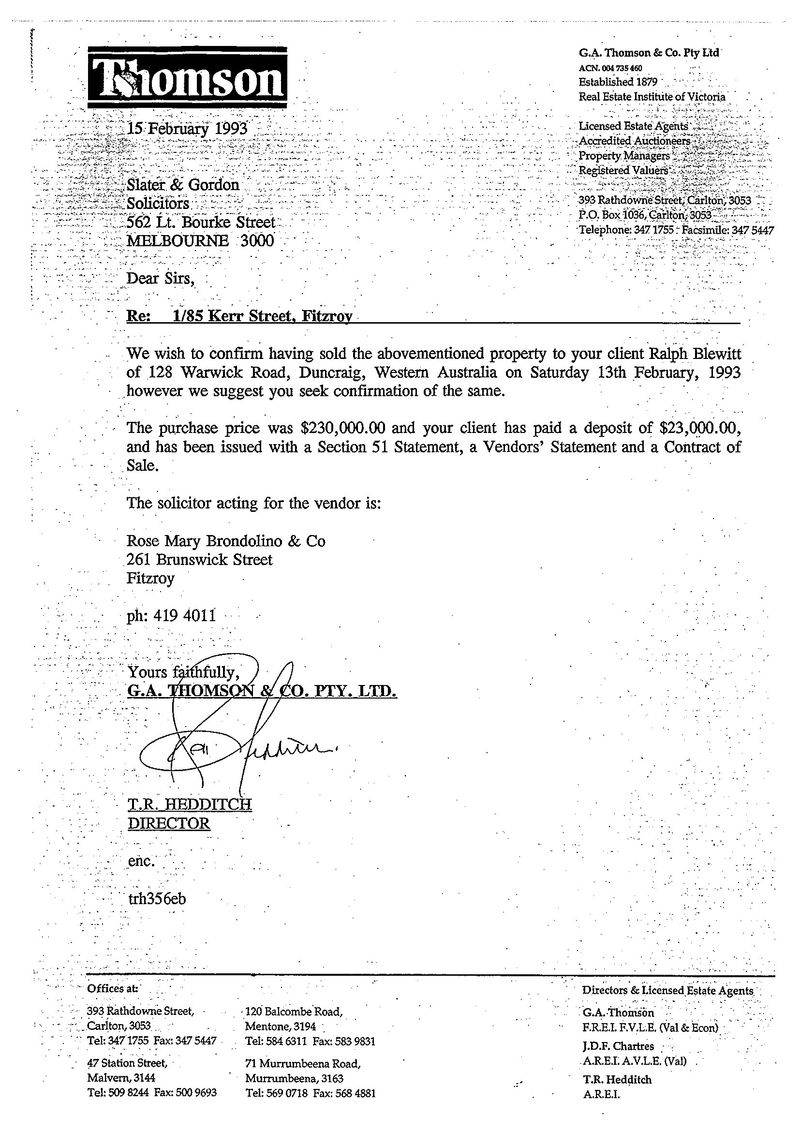Vendor agent letter to slater and gordon