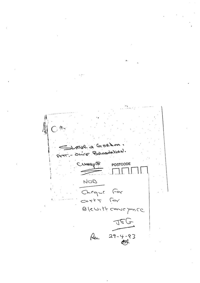 Gillard note cheque for costs for blewitt conveyancing