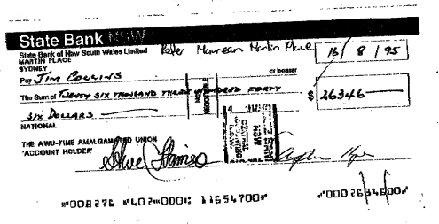 Redundancy cheque collins
