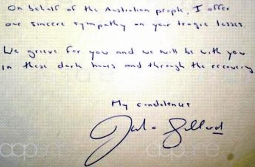 Gillard condolence card
