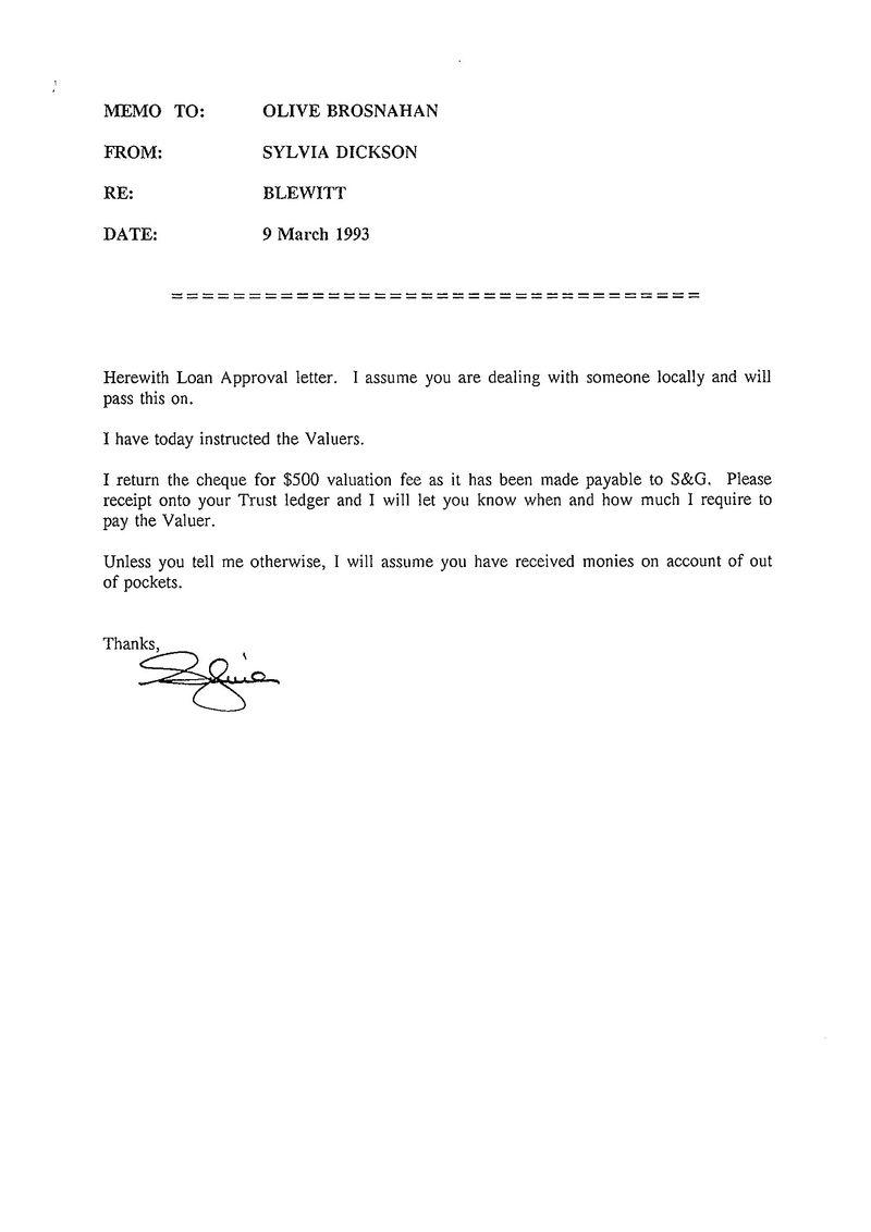 Loan approval letter memo