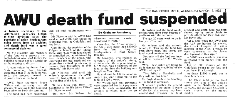 1992 18 march death fund suspended