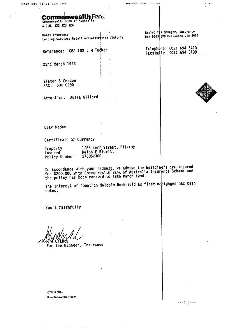Insurance letter to Gillard 1