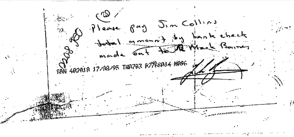 Redundancy cheque collins note