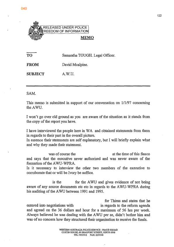 A memo from the investigating detective to his legal officer ie the memo macalpine to sam tough 1997001 altavistaventures Image collections