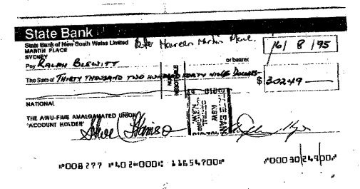 Redundancy cheque blewitt