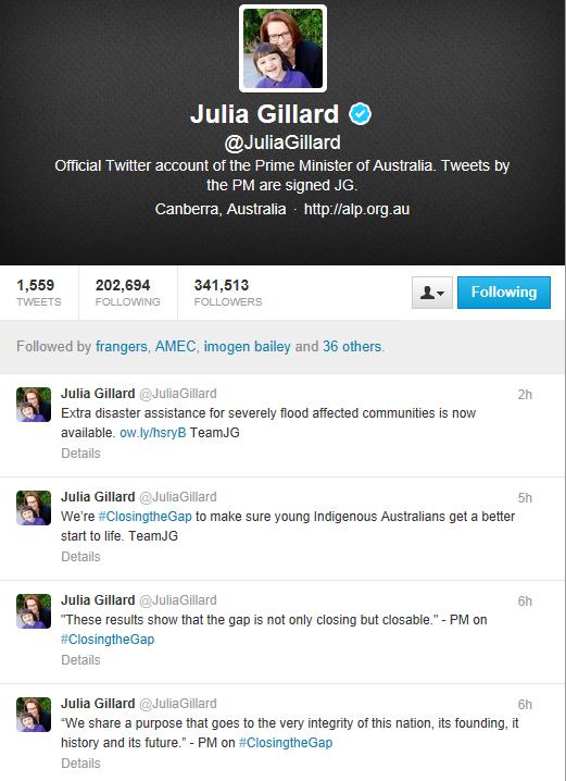 Gillard twitter new bizzo