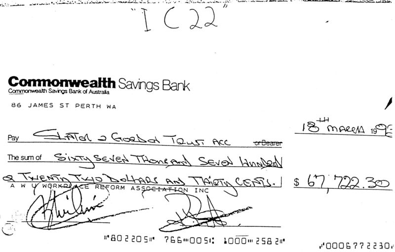 Ralph's cheque