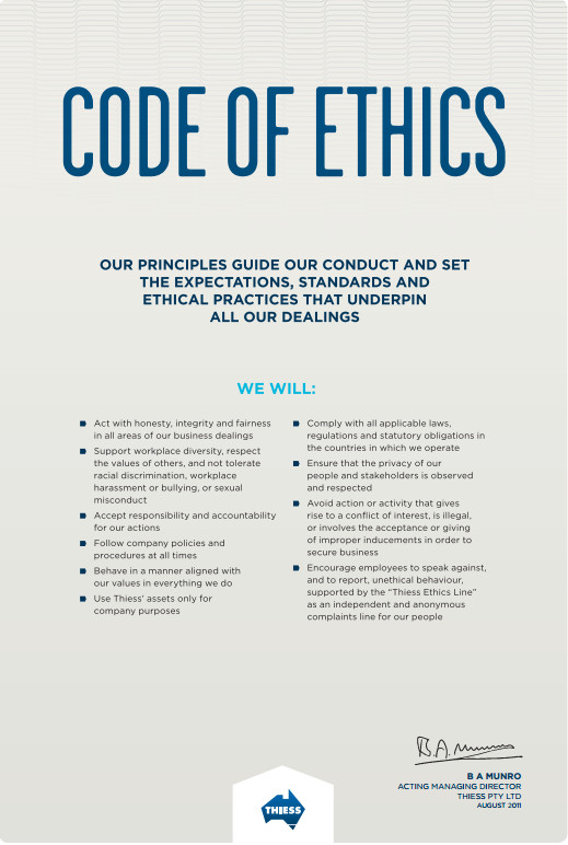 Thiess code of ethics