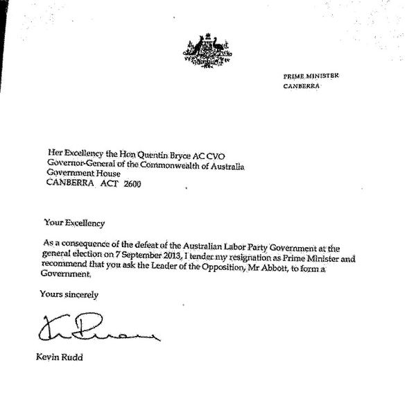 Kevin Rudd'S Instrument Of Resignation - Michael Smith News