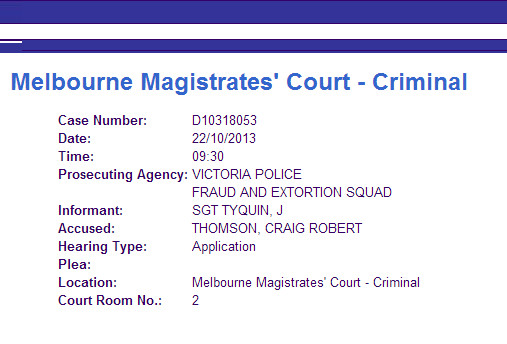 Melbourne Magistrates' Court today re Craig Thomson