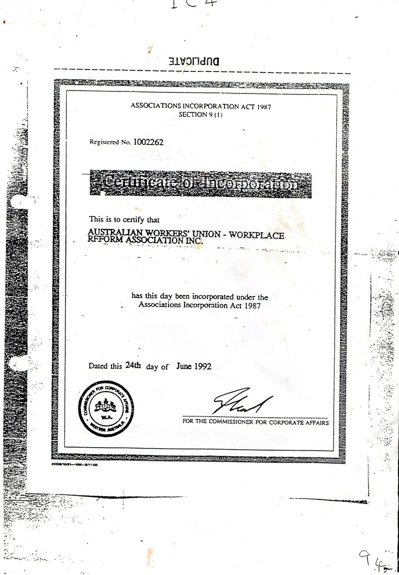 Certificate of incorporation AWU-WRA