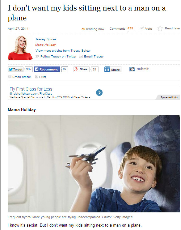 Tracey spicer doesn't want sitting next to a man on a plane