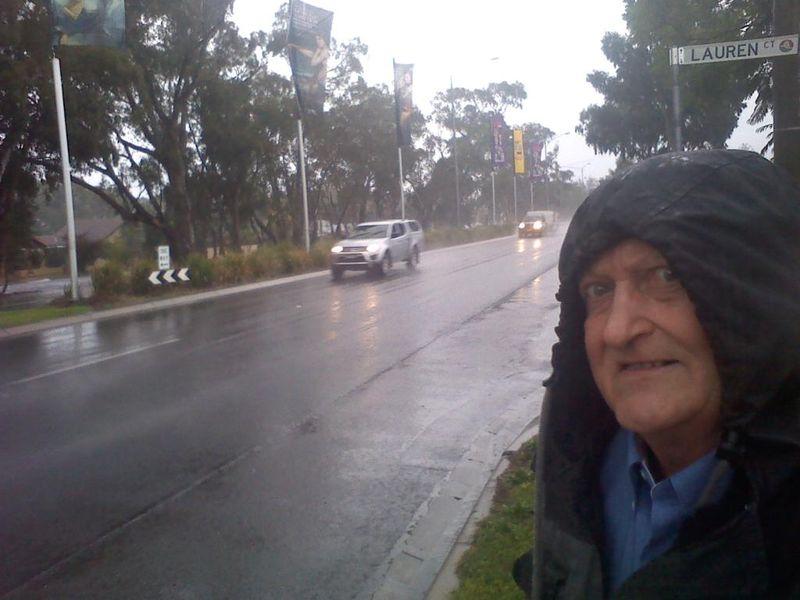 Bob hoping to get a cab