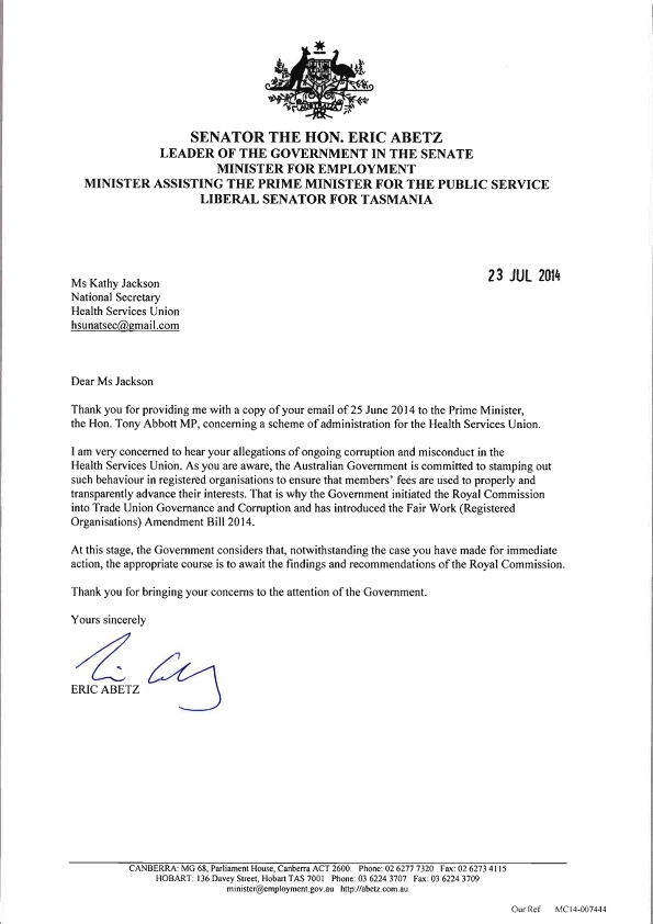 The Letter Asking The Abbott Government To Put The Hsu
