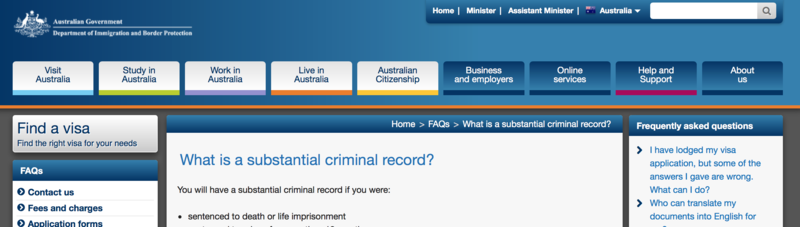 Australian Immigration policy - Persons sentenced to death