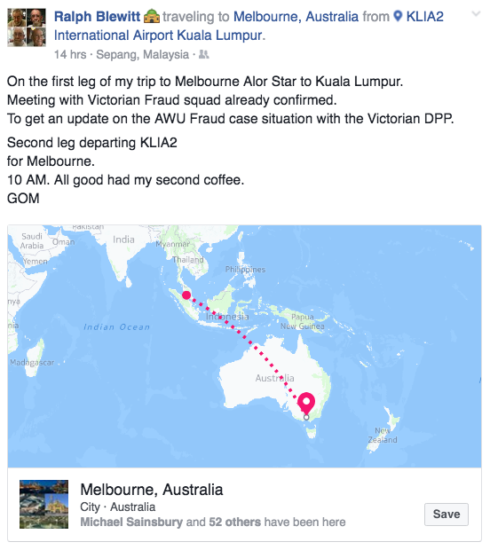 From Ralph Blewitts Facebook - hes en route to Melbourne