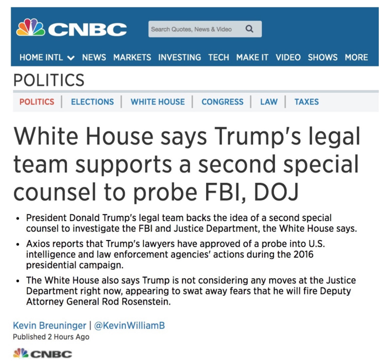 Special Counsel Investigating President Trump: 2nd Special Counsel To Investigate FBI And DOJ, Page-1
