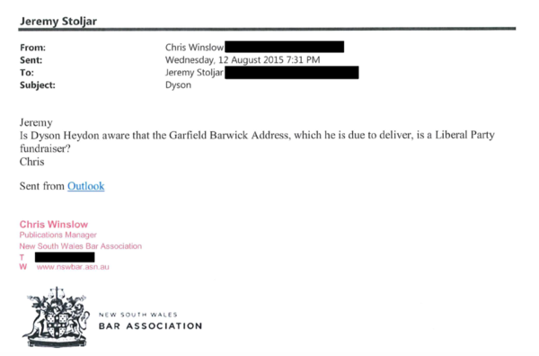 Chris Winslow of the Bar Association's Twitter messages for Tony