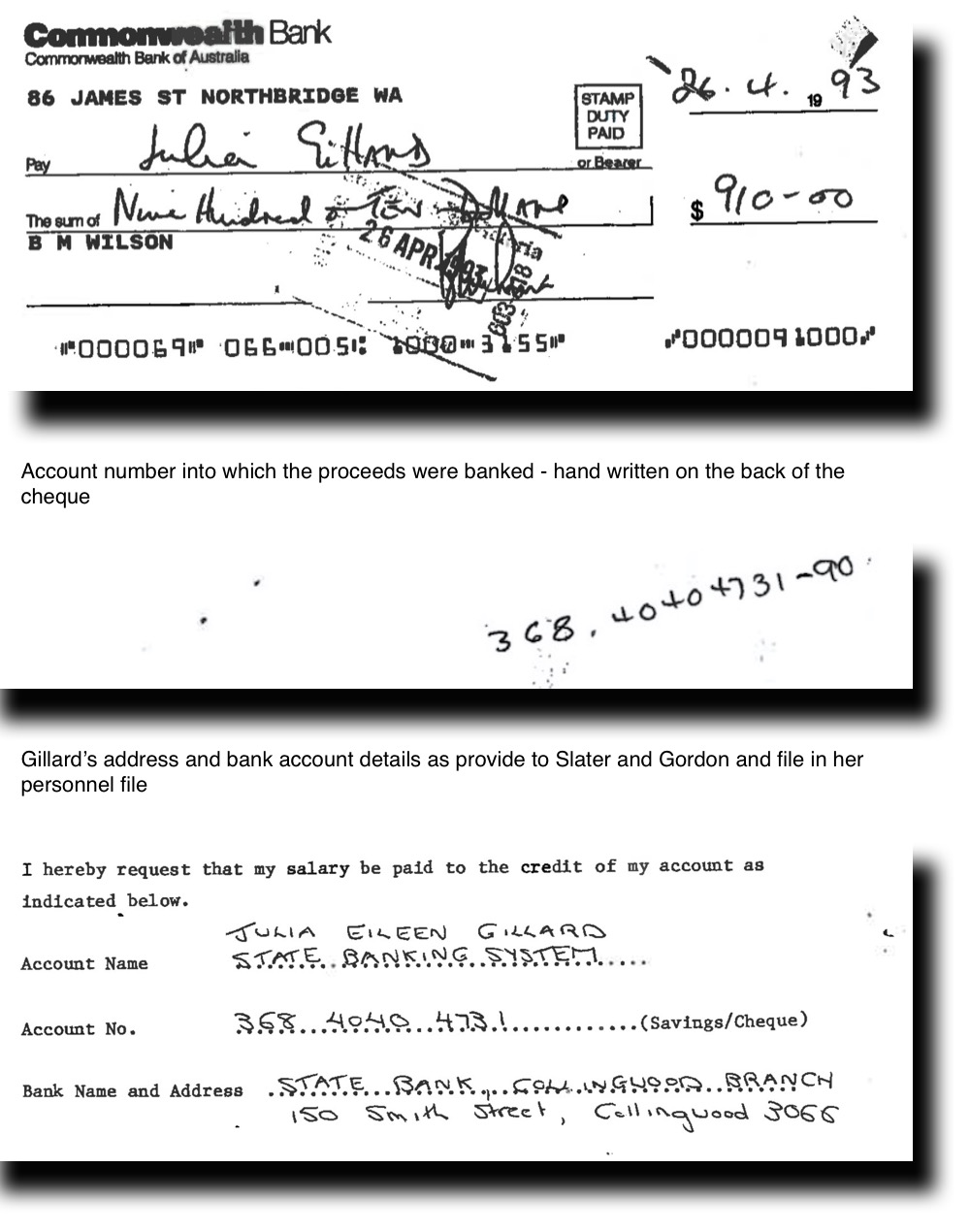 Direct evidence linking GILLARD to WILSON\'S corruptly obtained money ...