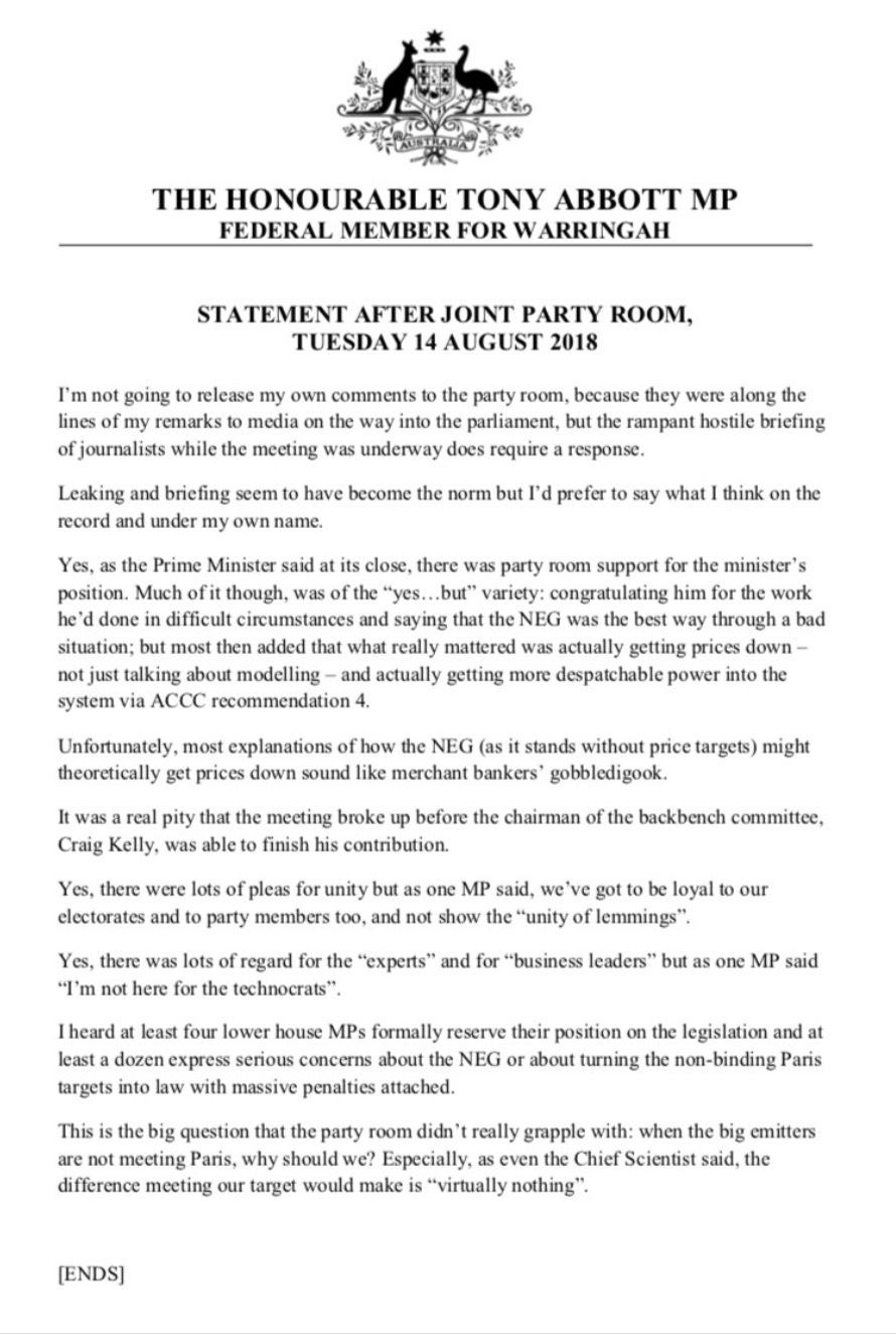 Tony Abbott on Turnbull's NEG