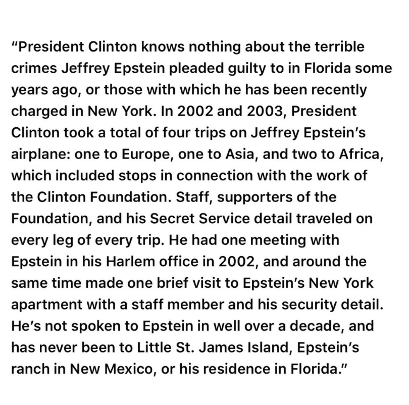 Bill Clinton issues statement on his ties to Jeffrey Epstein