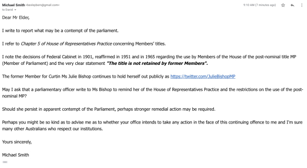 Julie Bishop still holding herself out as a Member of Parliament ...