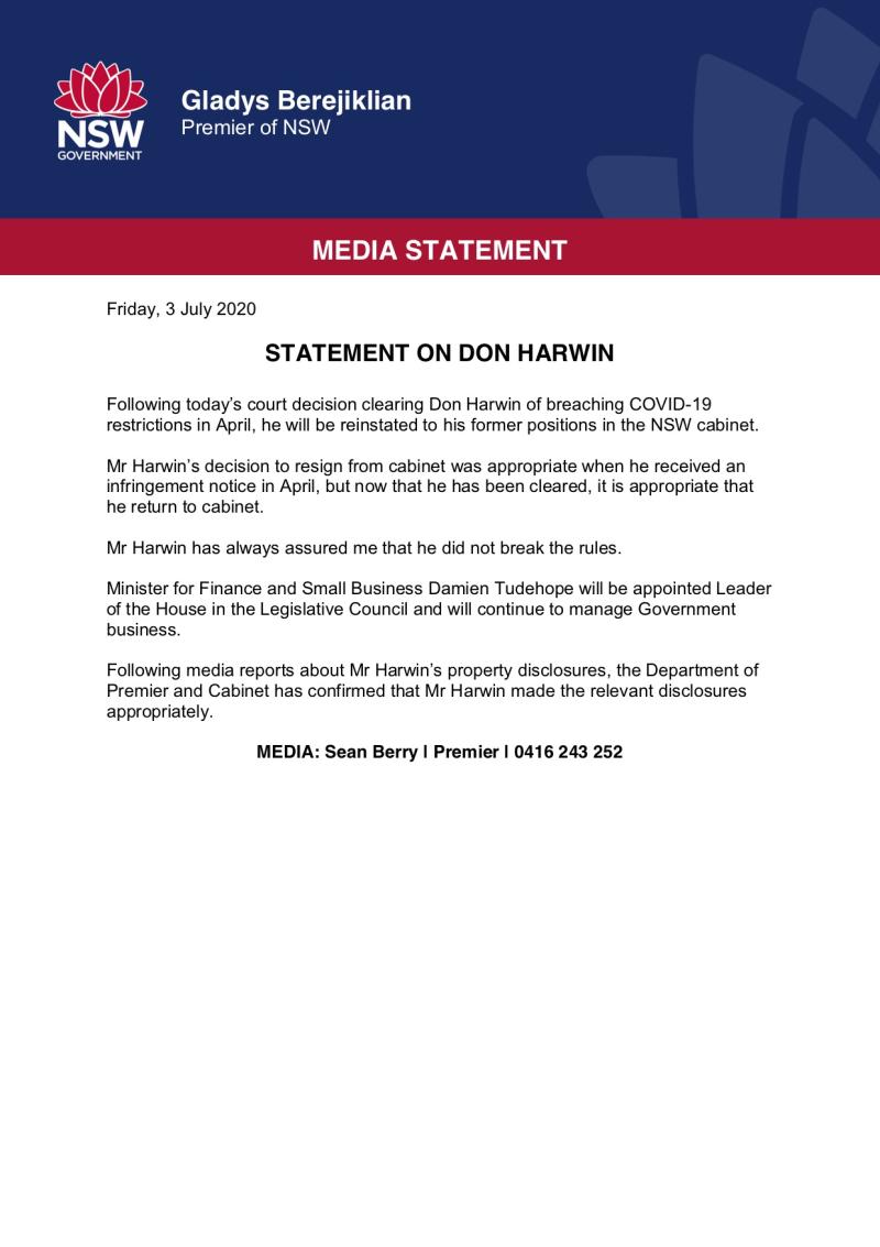 Gladys Berejiklian - Statement on Don Harwin