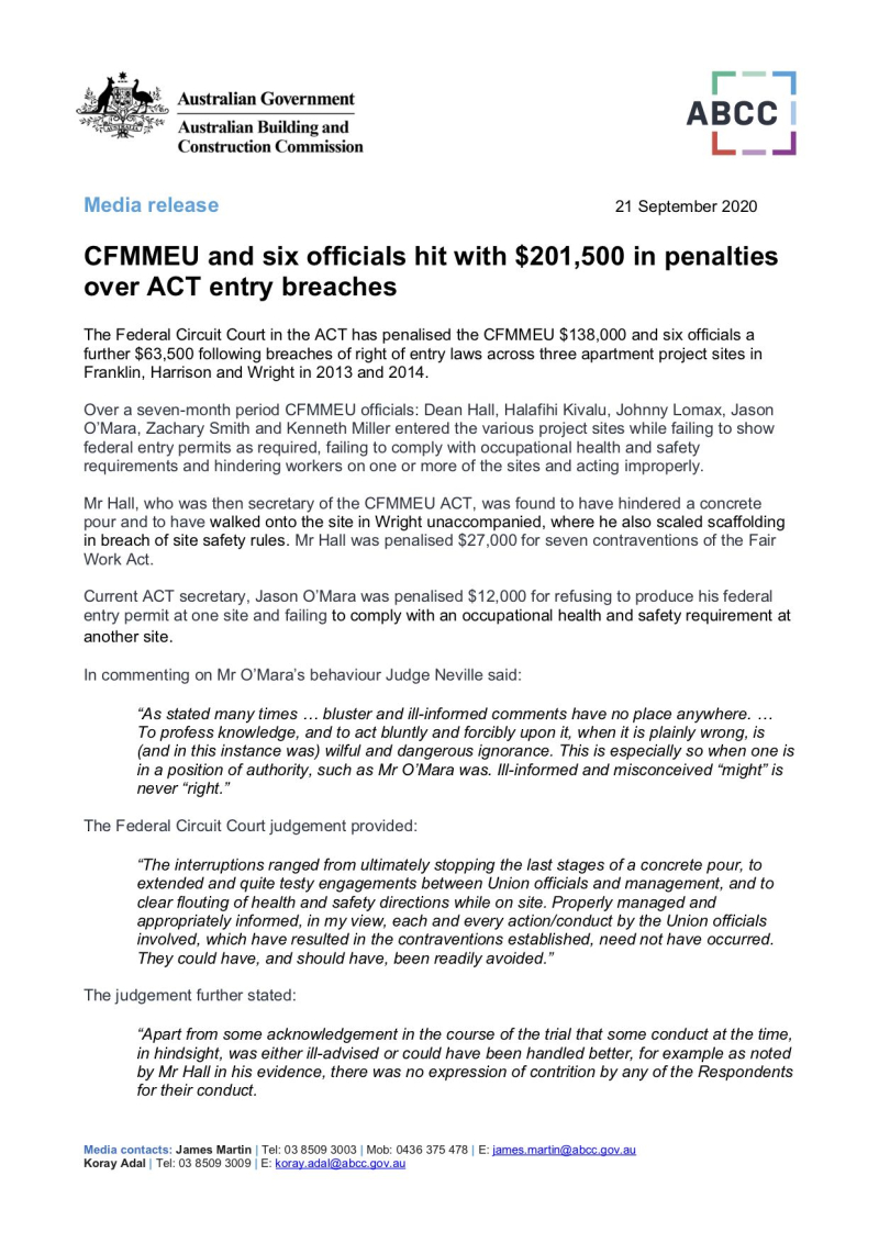 200921 - CFMMEU and six officials hit with $201000 in penalties over ACT entry breaches (The Village matter)
