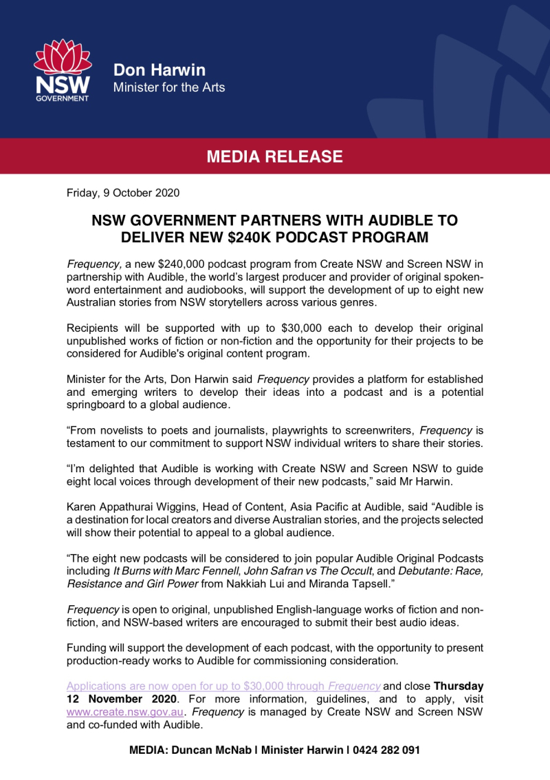 Don Harwin med rel NSW Government Partners With Audible To Deliver New $240K Podcast Program