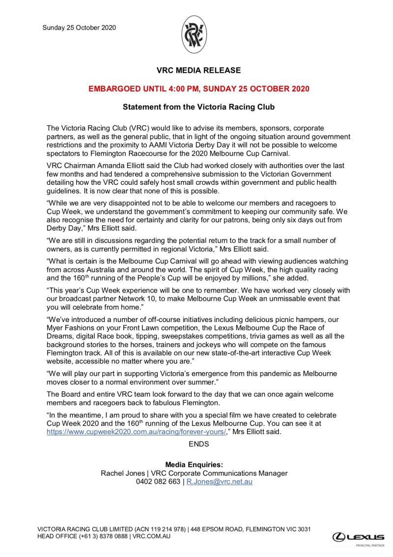 VRC Media Statement