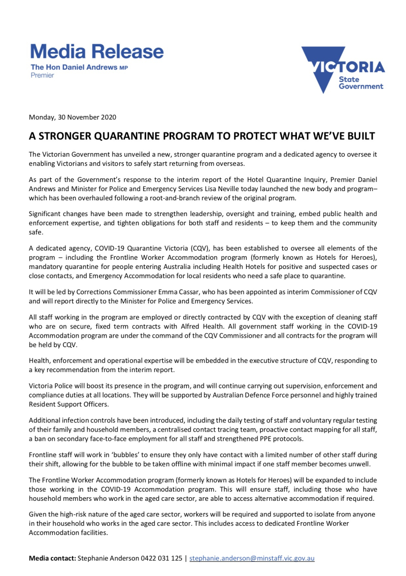 201130 - A Stronger Quarantine Program To Protect What We've Built