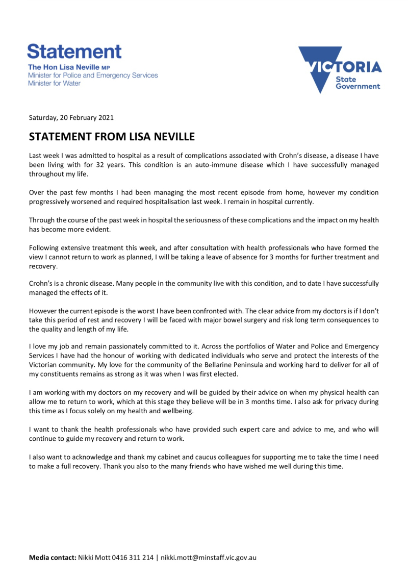 210220 - Statement From Lisa Neville