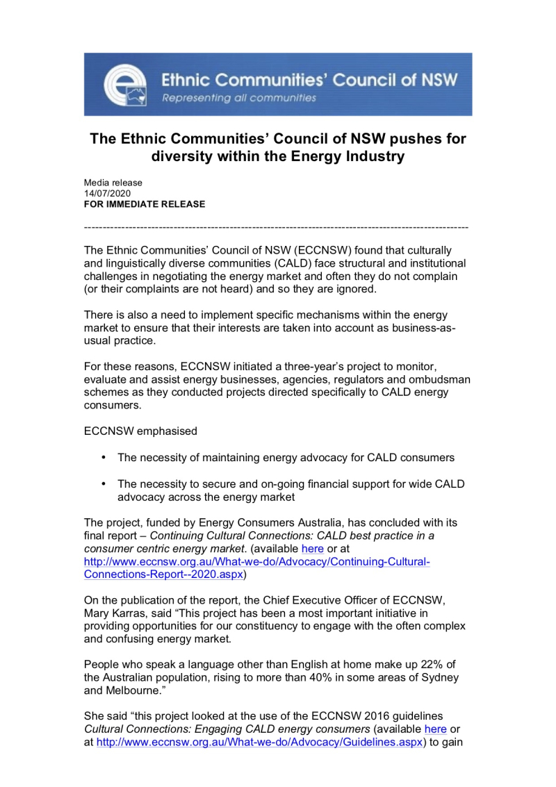 The Ethnic Communities' Council of NSW pushes for diversity within the Energy Industry