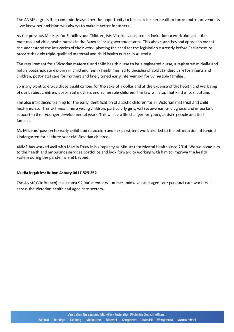 200926 Health Minister Jenny Mikakos achievements will long benefit Victorians FA