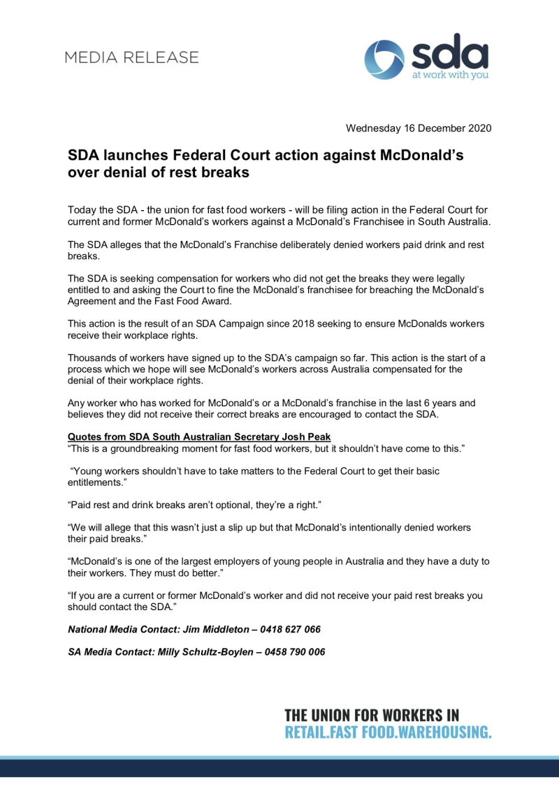 SDA National Media Release - SDA launches Federal Court action against McDonald's over denial of rest breaks - 16 Dec 2020 (1)
