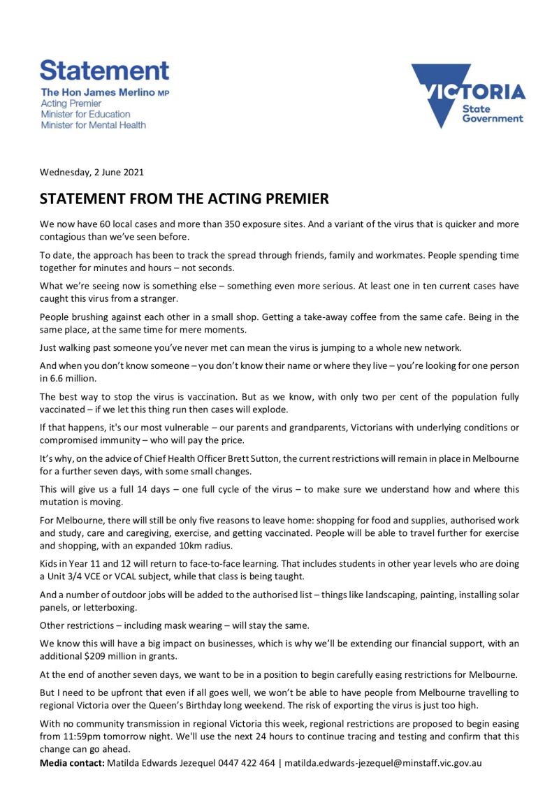 210602 - Statement From The Acting Premier