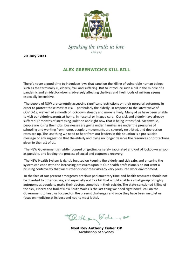 Statement from Archbishop Anthony Fisher_Greenwich's Kill Bill