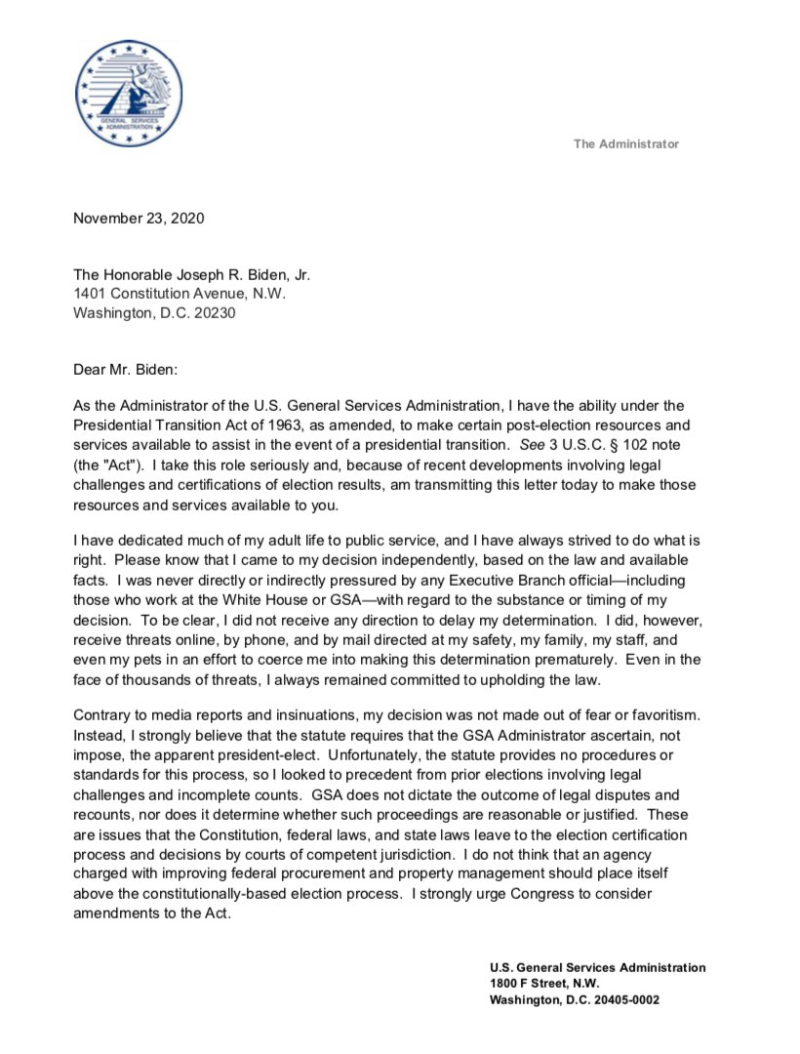 Us General Service Administrator Emily Murphy S Letter To Joe Biden Authorising Transition Funding Michael Smith News