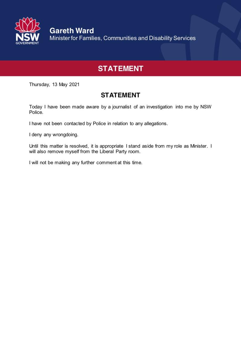 Gareth Ward statement