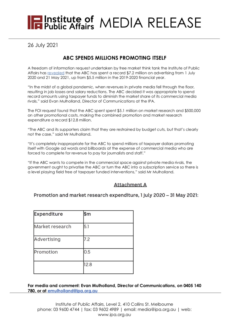 210726 - Media release -IPA - ABC Spends Millions Promoting Itself